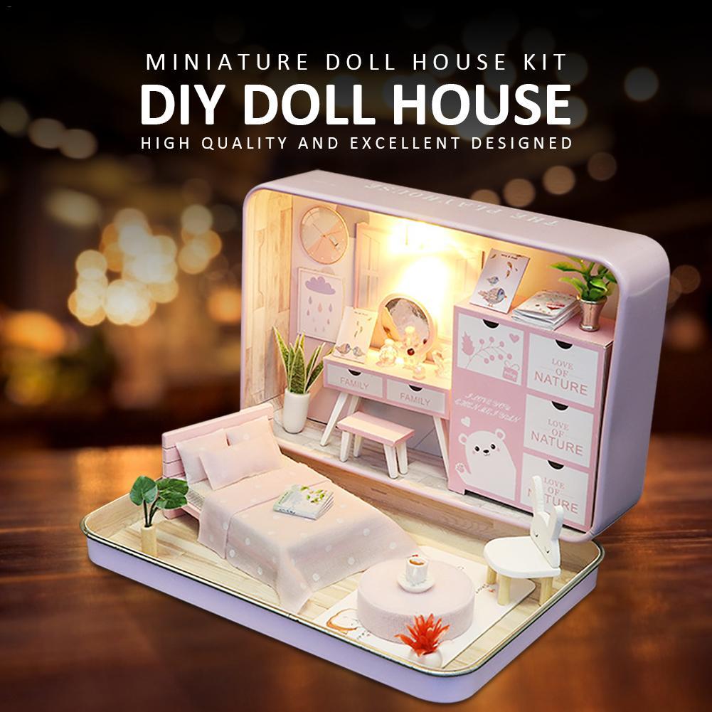 Миниатюрный Кукольный домик «сделай сам», набор игрушек, деревянный миниатюрный кукольный домик «сделай сам» со светодиодной подсветкой, п...