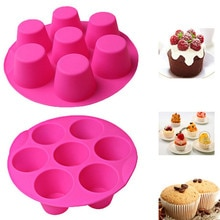 7 Cavity Round Muffin Cup Silicone Mold Cake Mold Muffin Cup Silicone Bakeware Baking Pan Tray Mould Muffin Cupcake Mold