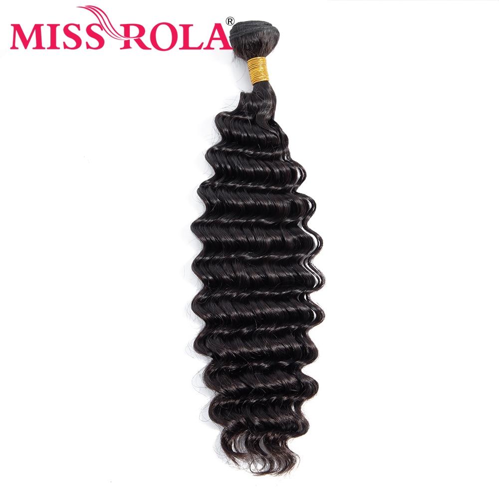 Miss Rola Deep Wave Bundles Brazilian Hair 100% Human Weave Natural Color Remy Extension 8-28 Inch
