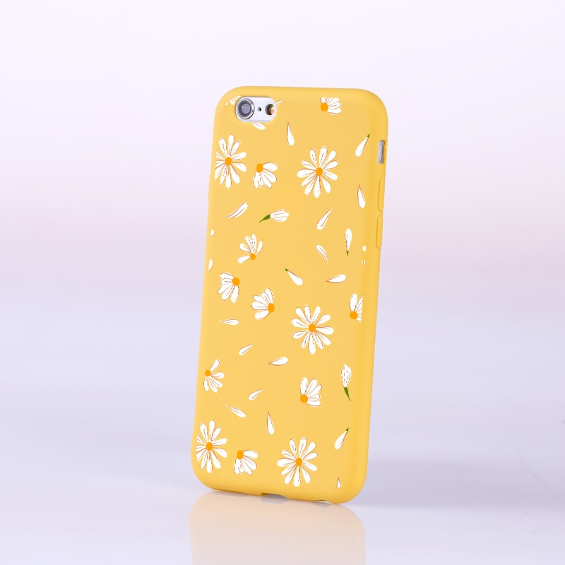 Fresh Soft Silicone Phone Case For Iphone X XS XR 5 6 8 7 5S 6S Plus Yellow Candy Rural Flower Cartoon Cat Phone Case For Iphone