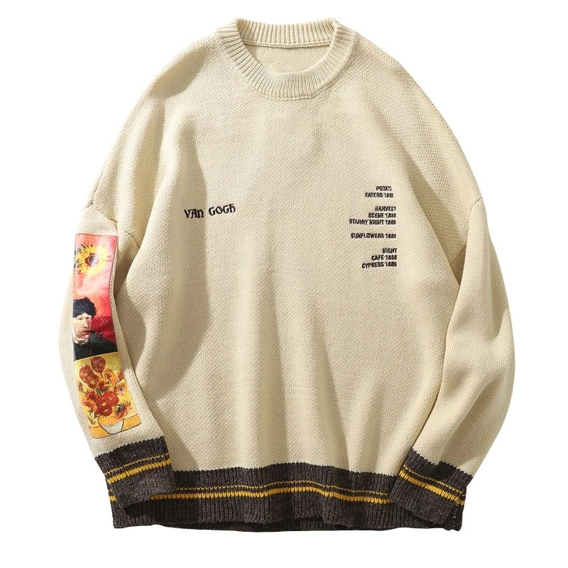 GONTHWID Van Gogh Sleeve Patchwork Pullover Knit Sweater 2019 Mens Hip Hop Embroidery Crewneck Knitwear Sweaters Streetwear  6