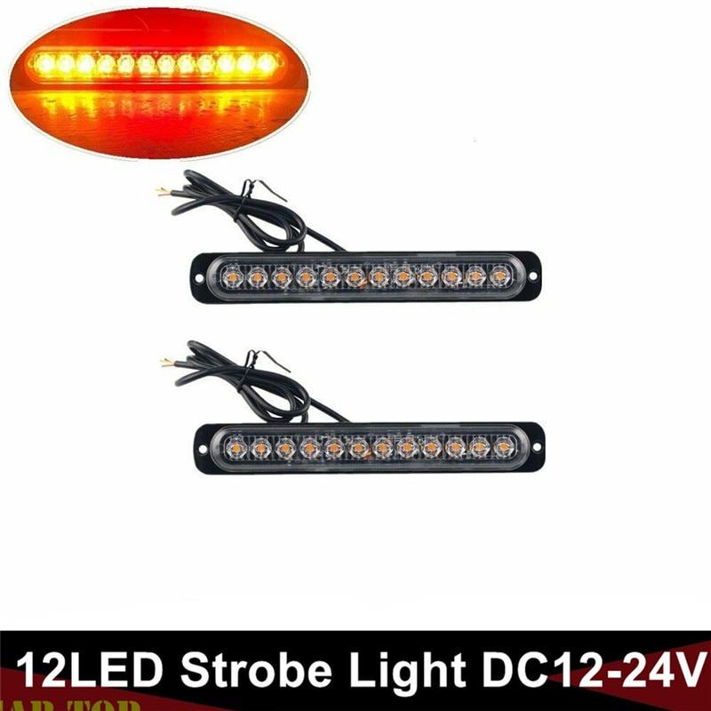 2PCS Bernstein Rote LED Auto Strobe 12 LED Notfall Strobe Lkw Marker Flash Warnung Licht Bar 12V/24v Strobe Led-leuchten Lkw