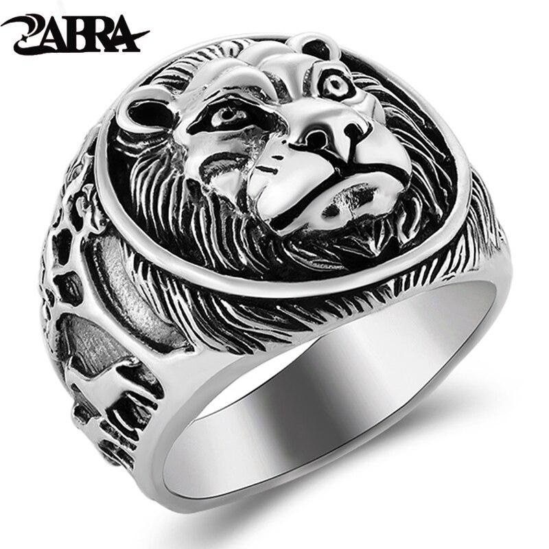 ZABRA 100% Echt Solide 925 Silber Ring Männlichen Lion Ring Vintage Steampunk Retro Biker Herren Sterling Silber Schmuck Anel Masculino