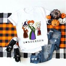 Showtly femmes T Shirt Hocus Pocus Halloween Sanderson soeurs gothique horreur à manches courtes Vintage Ulzzang mode Tee hauts