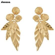 Модные висячие серьги Docona золотого цвета в форме листьев, женские серьги-подвески с листьями, вечерние серьги, Brincos 9119