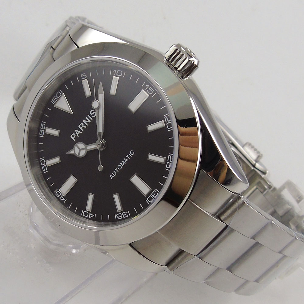 Reloj para hombre de 40mm parnis, esfera negra, cristal de zafiro luminoso, movimiento automático
