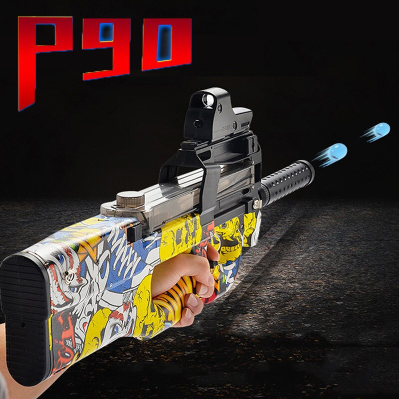 Electric Burst P90 Graffiti Toy Gun Plastic CS Game Laser Sight Silencer 9mm Hydro Balls Paintball Boys Toys Outdoor Pistol Gift