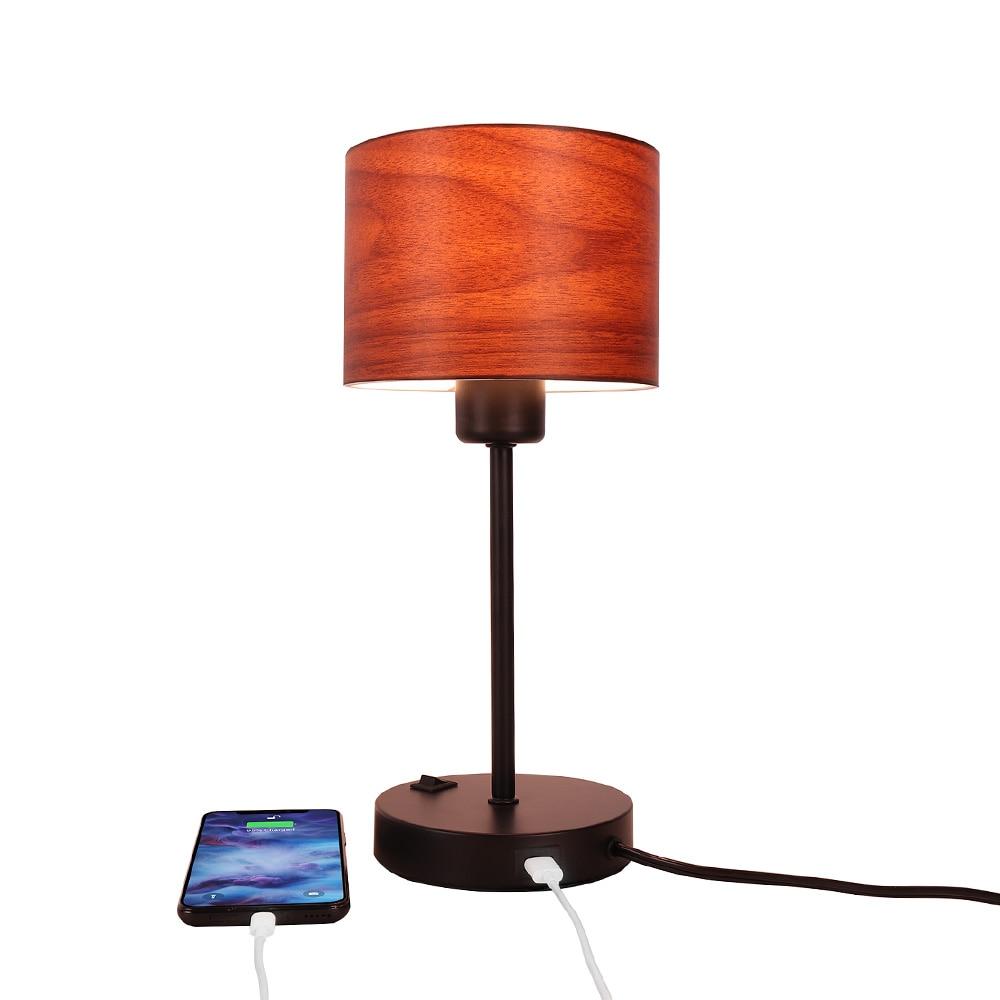 الحديث البني بسيط الحديد E27/E26 led USB شحن لمبة مكتب النسيج غرفة المعيشة غرفة نوم السرير استوديو منضدة للقراءة ضوء