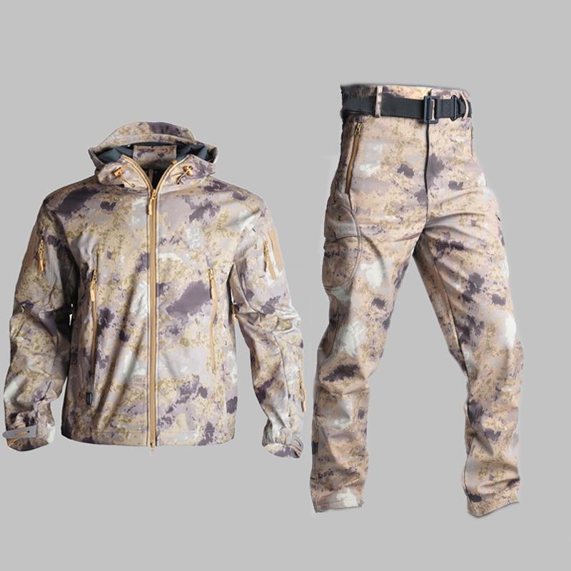 Chaqueta de senderismo y caza al aire libre, chaqueta táctica militar impermeable, pantalones térmicos de escalada Softshell, prendas de vestir exteriores de camuflaje del ejército