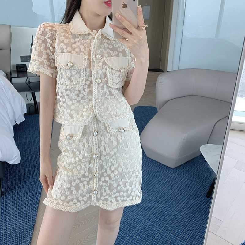 Heavy Industry Suit Skirt Lady Temperamental Wear Embroidered Lace Two-Piece Set Summer Lapels Short