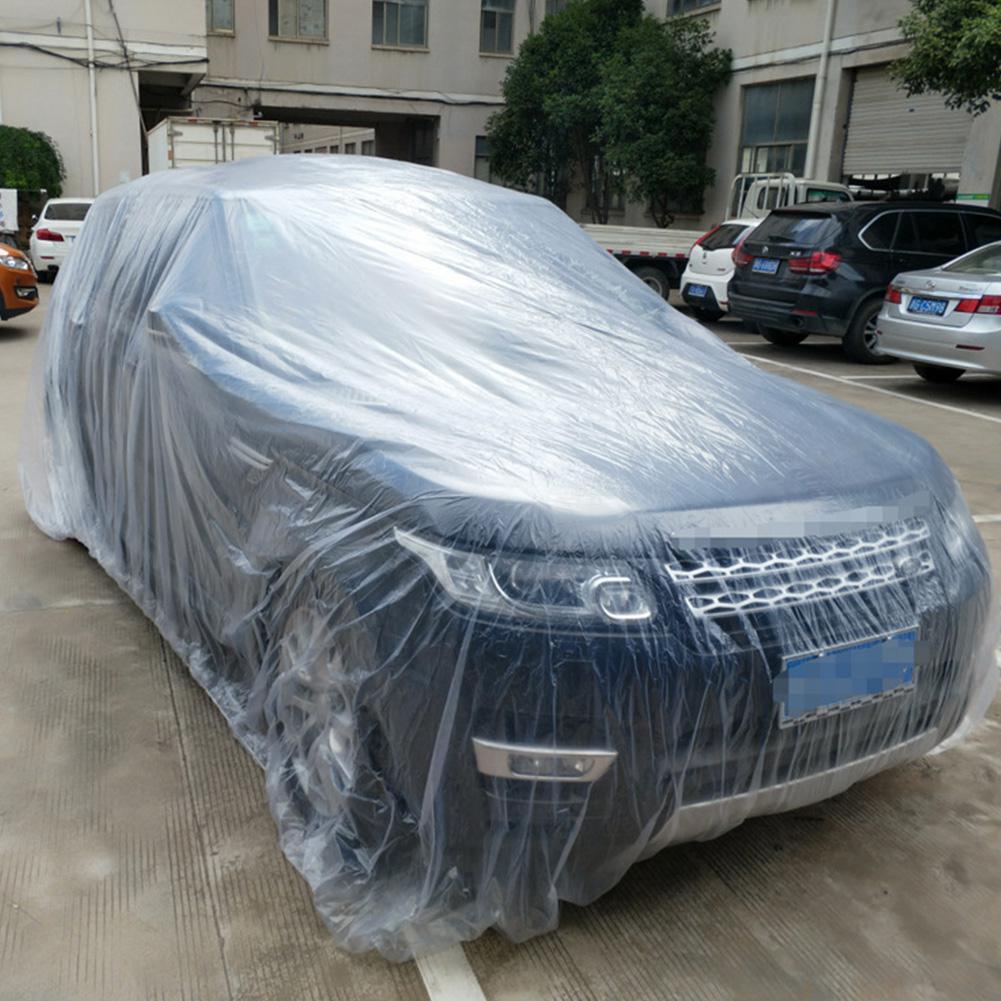 Yfashion LDPE película exterior desechable cubierta completa de coche resistente a la lluvia/polvo garaje temporal Universal 3 tamaños