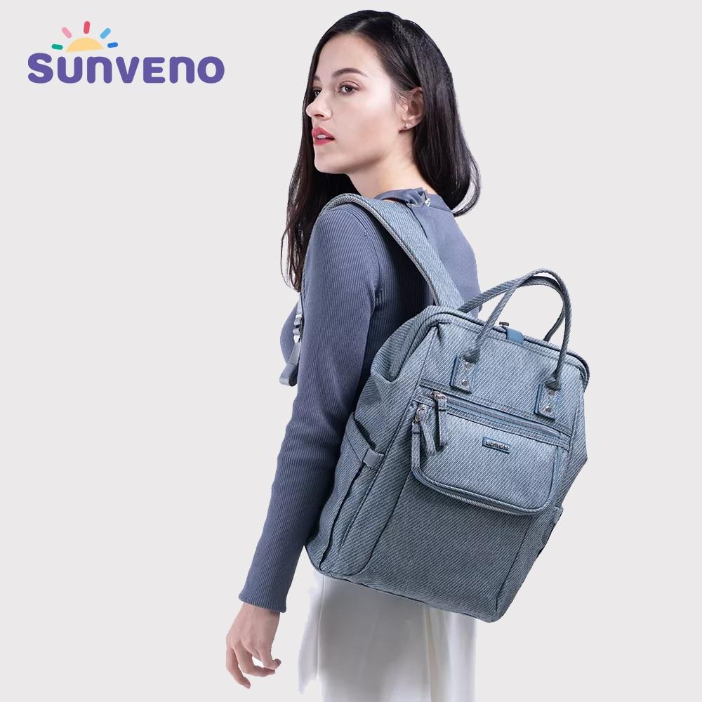 Sunveno New Diaper Bag Backpack Large Capacity Waterproof Nappy Bag Kits Mummy Maternity Travel Backpack Nursing Handbag