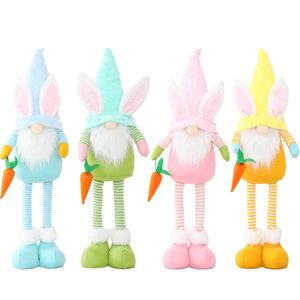 Easter Stretchable Doll Holding Carrot Standing Posture Bunny Gnome Decoration Faceless Doll Plush Dwarf Home Party Decorations