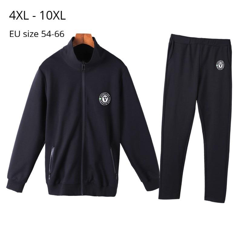 Chándal de talla grande 10XL 8XL 6XL 4XL para mujer de manga larga otoño primavera chándal con efecto dos piezas ropa informal negra para mujer