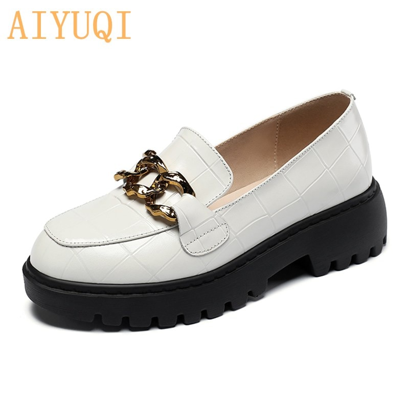 AIYUQI Women's Shoes Spring Loafers Women 2021 New British Style Round toe Metal Decorative Real lea