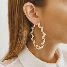 Tocona-boucles doreilles coréennes, boucles doreilles de luxe, couleur or, perles blanches, ajourées, de forme géométrique irrégulière, bijoux cadeau, collection 14851