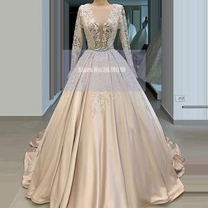 Champagne V-Neck Evening Dress Ball Gown Long Sleeves Applique Beaded Sash Floor-Length Prom Dress Celebrity Dress 2020 Dubai