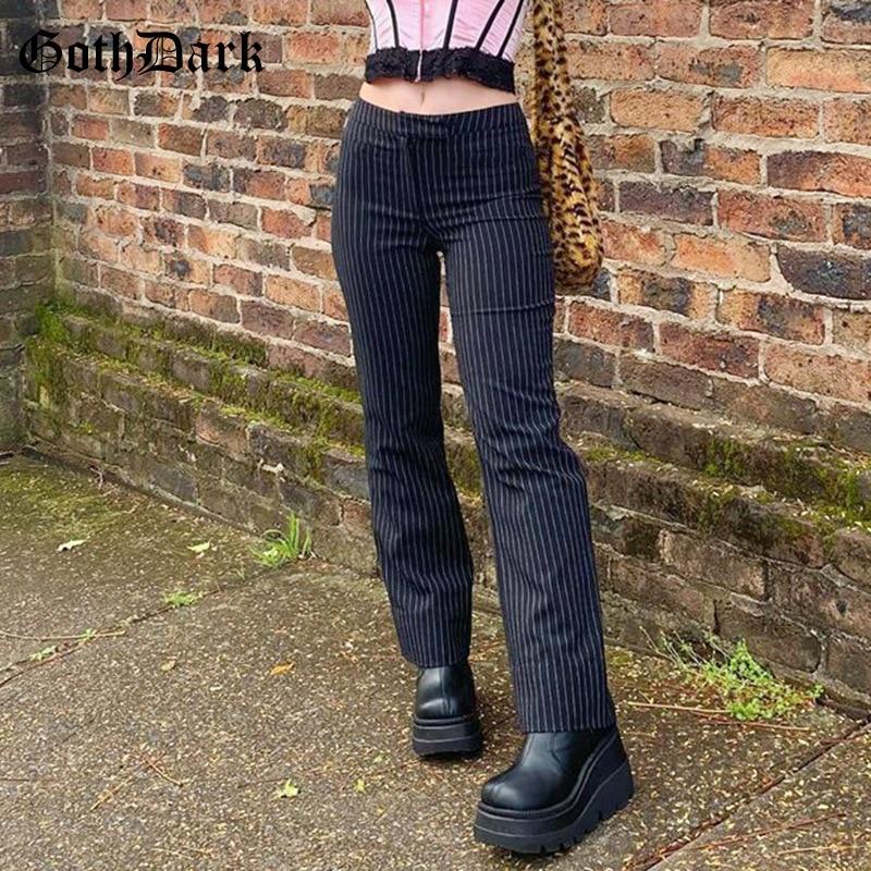 AliExpress - Goth Dark E-Girl Striped Print Gothic Suit Pants Black Slim High Waist Zipper Front Trousers Women Autumn Fashion Streetwear