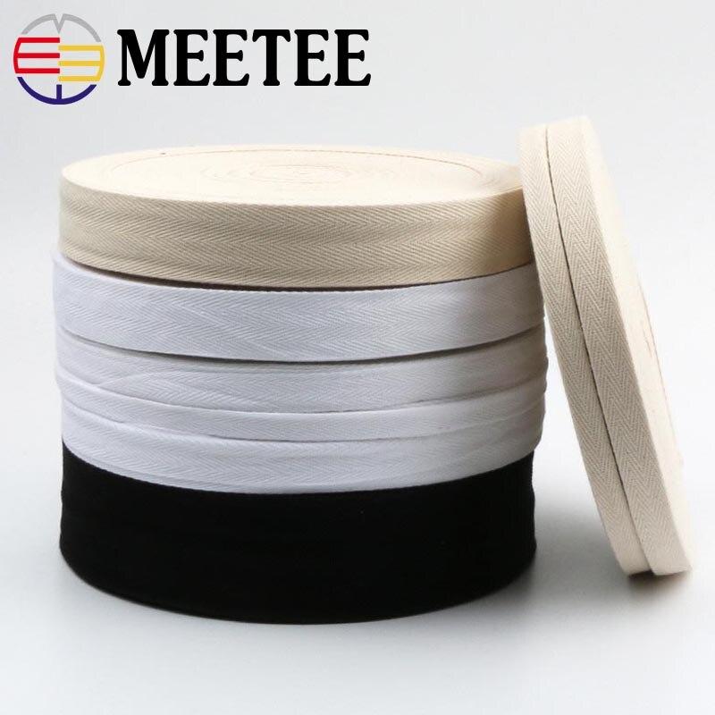 50Yards Eco-Friendly Cotton Webbings High Tenacity Belt Bag Lable Ribbon Sewing Tape Bias Binding DIY Crafts Accessories