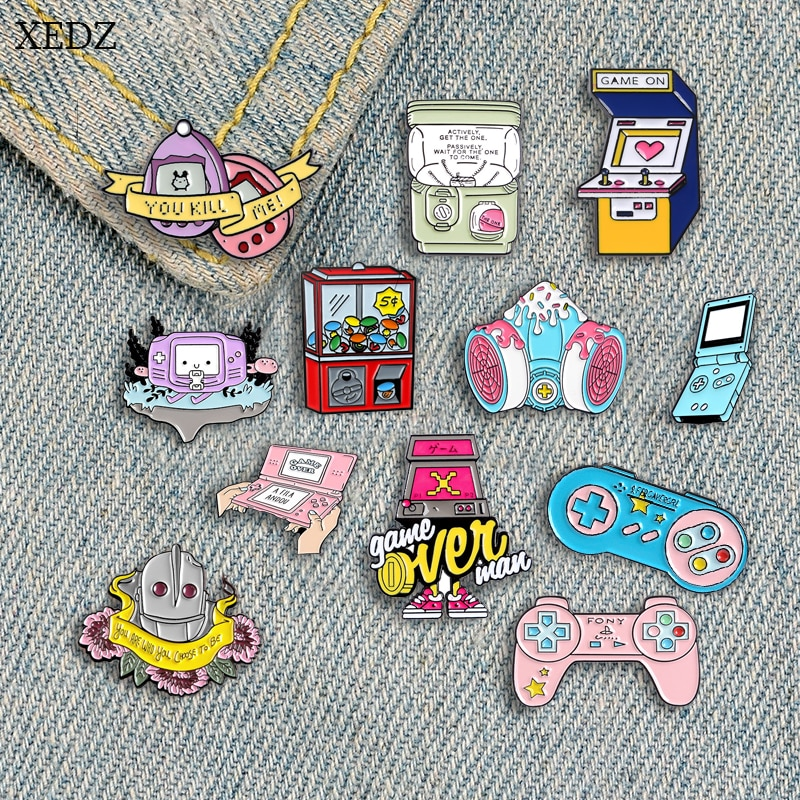 AliExpress - XEDZ New childhood game doll machine Super person  QQ egg brooch collection fashion  denim clothes pendant jewelry gift