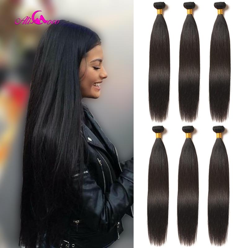 Ali coco brasileiro feixes de tecer cabelo reto 100% feixes de cabelo humano 3/4 pçs 8-30 Polegada não remy extensões de cabelo