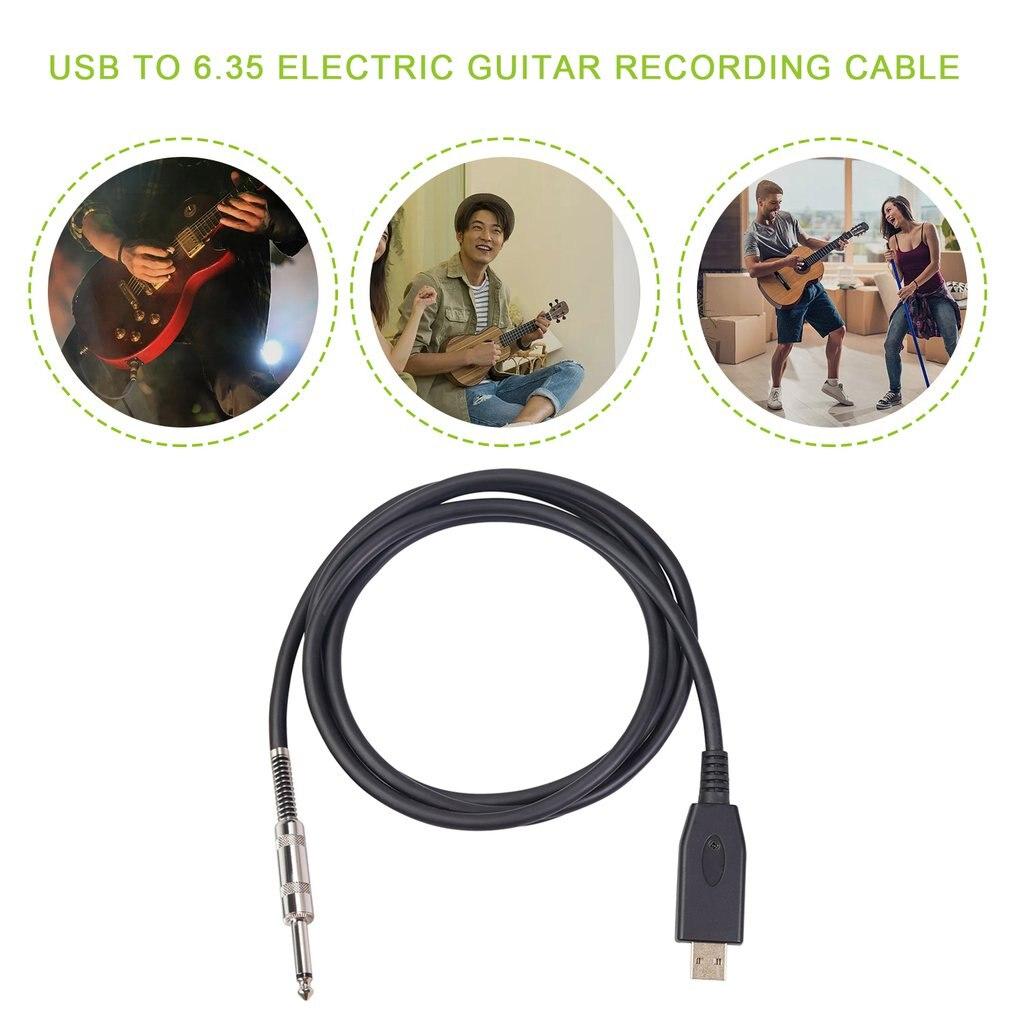 Cable USB a 6,35 para grabar guitarra eléctrica, adaptador de 2m para...