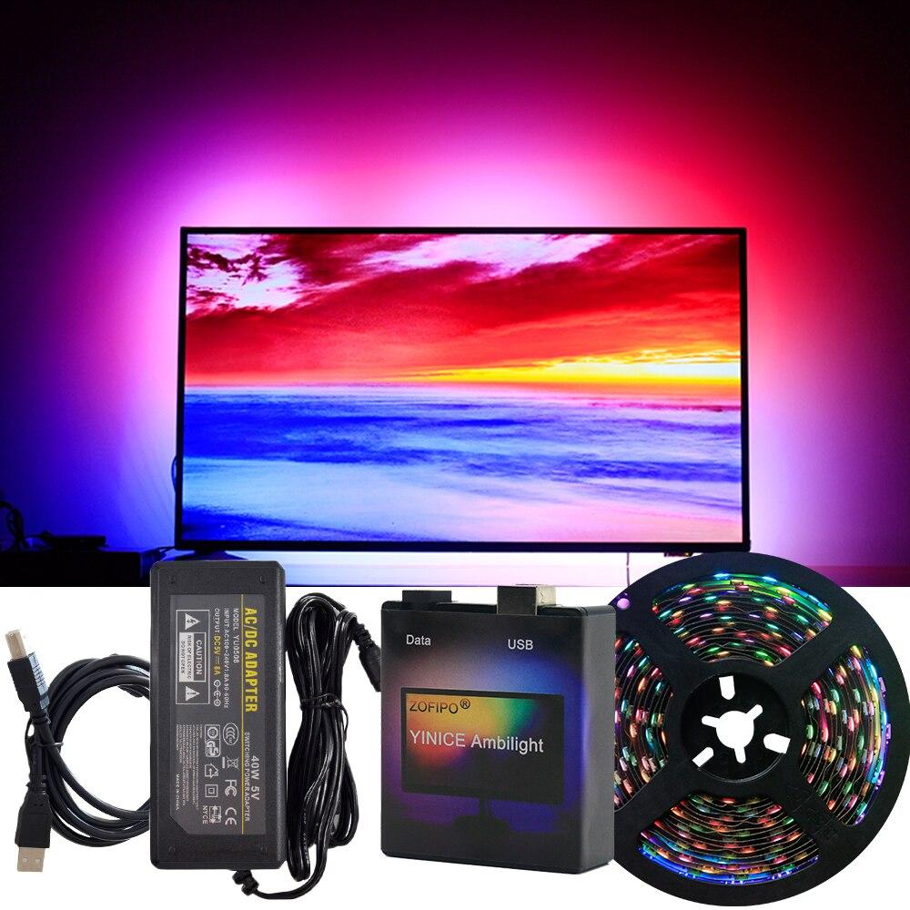DIY Ambilight TV PC Dream Screen USB LED tira Kit ordenador PC pantalla de fondo iluminación 5M juego completo