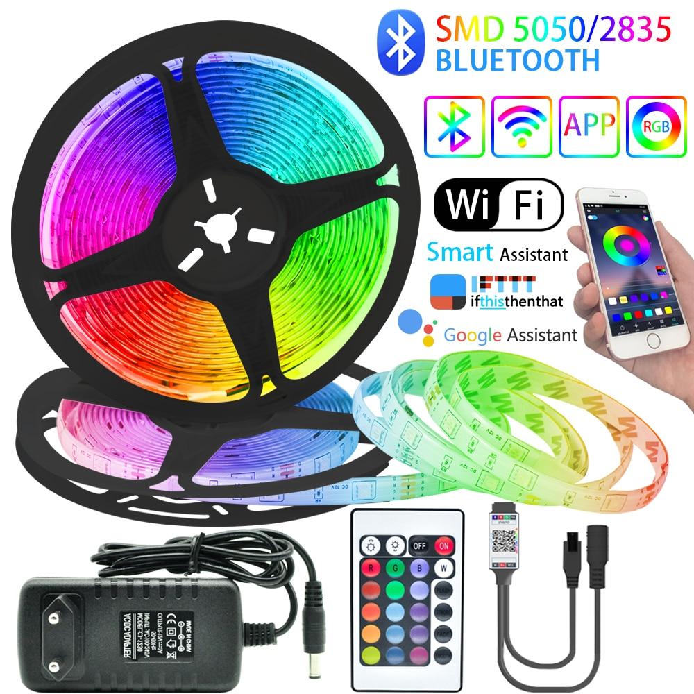 Tira de luces LED con Bluetooth, controlador WIFI RGB SMD 5050 2835,...