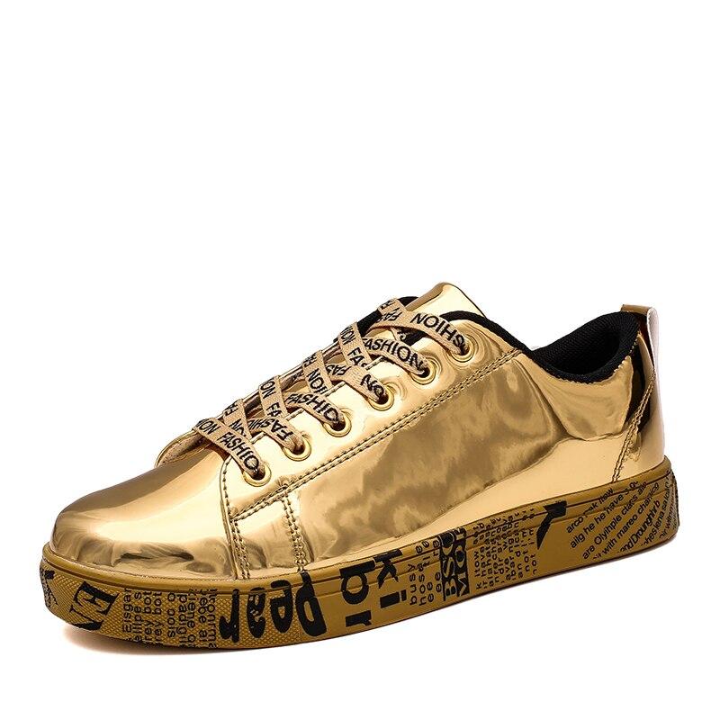 Zapatillas casuales para hombre, zapatos de cuero PU brillantes para hombre, zapatillas planas cómodas, calzado para caminar al aire libre, talla de zapatillas negras 36-46