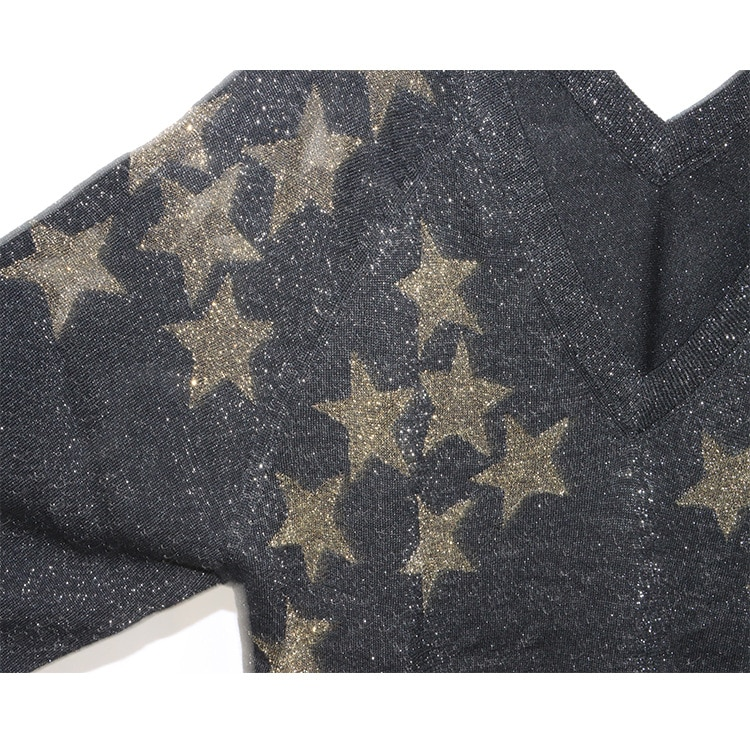 New gold star printing fashion double V collar head and long sleeves in early autumn of 2021 enlarge