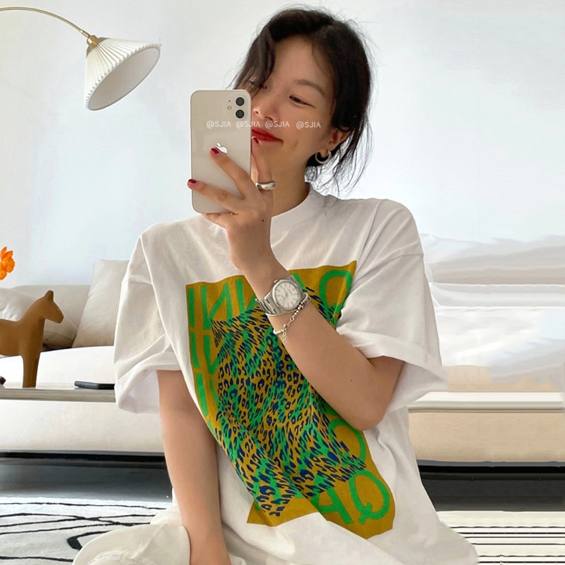 Summer Casual Round Neck Abstract Letter Printing Design Sense Loose and Short-sleeved T-shirt