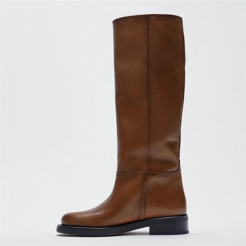 Женские сапоги до колена, теплые сапоги из натуральной коровьей кожи на низком каблуке, обувь для верховой езды, Осень-зима 2021