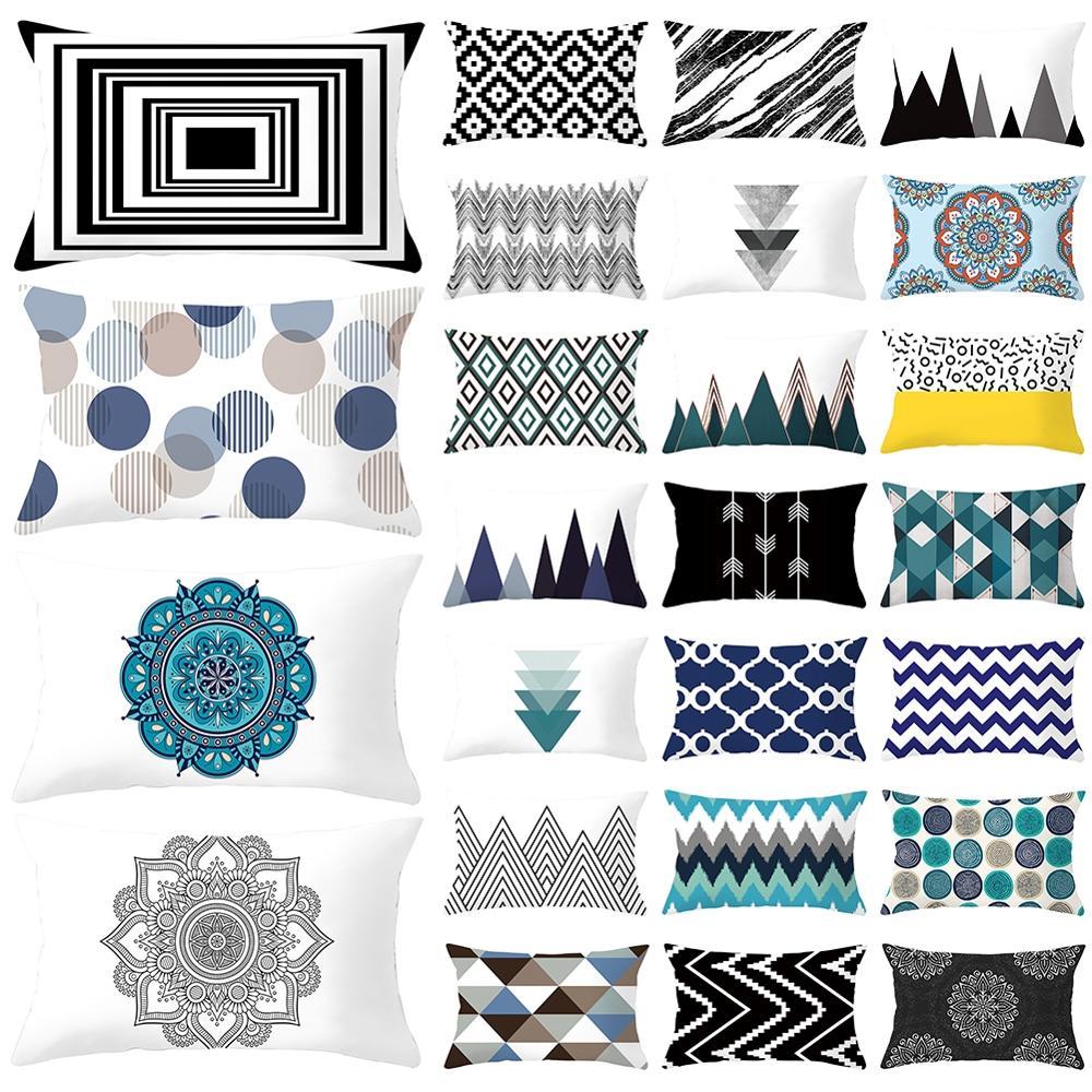 Qualidade fronha azul geométrico estilo minimalista curto de pelúcia retangular carro sofá capa almofada confortável durável decoração da sua casa
