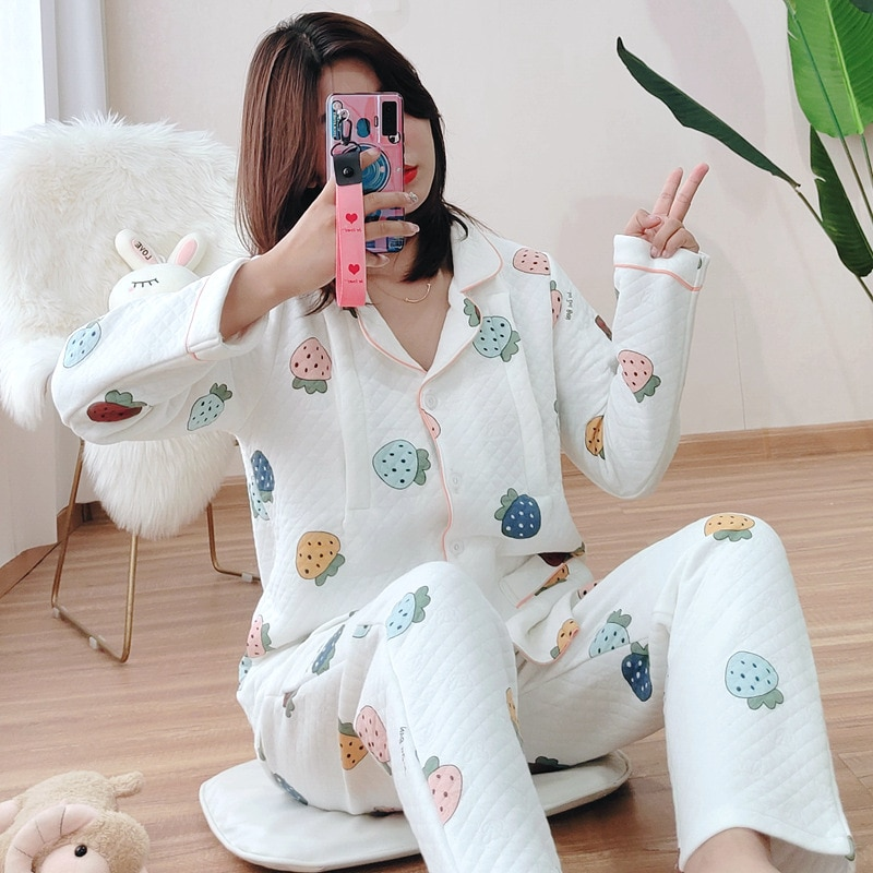 Cotton Air Layer Confinement Clothing Strawberry Quilted Autumn and Winter Postpartum Feeding Pregnant Women Milk Pajamas Home S enlarge