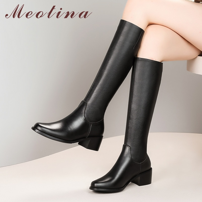 Meotina botas de equitação de inverno feminino couro genuíno natural saltos grossos na altura do joelho botas altas zip round toe sapatos senhora outono tamanho 33-42