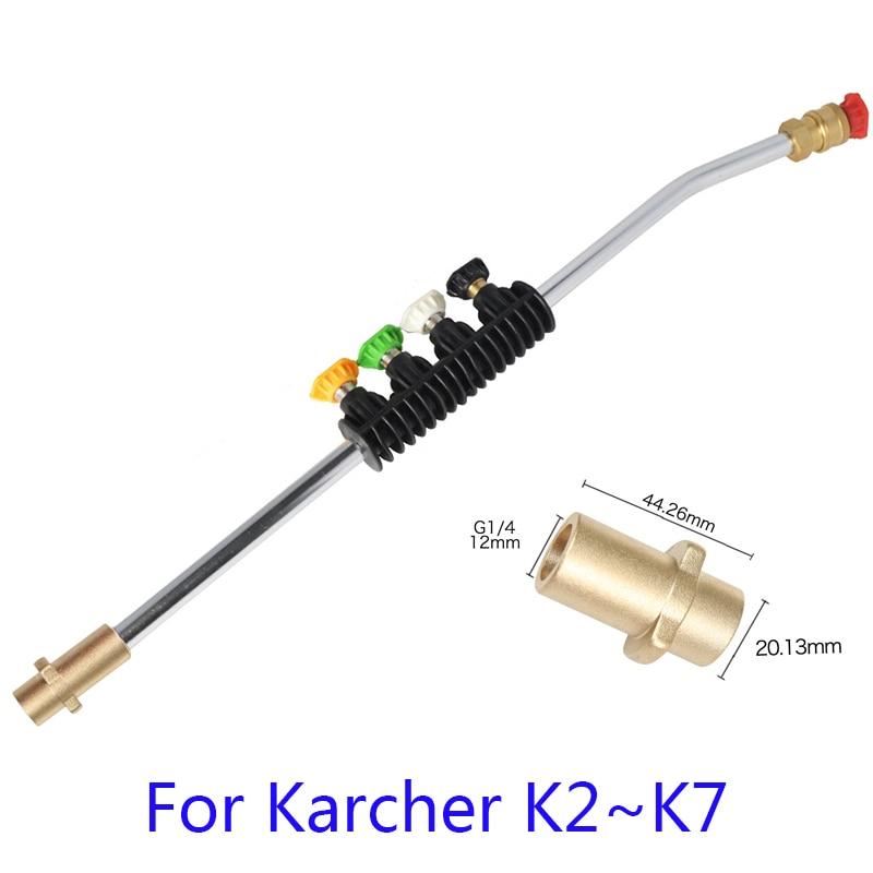 For Karcher k2k3k4k5k6k7Pressure Washer Car Cleaning.with 5 Color Spray Nozzles&Rotating Turbo Nozzle, 19Inch Replacement Lance enlarge