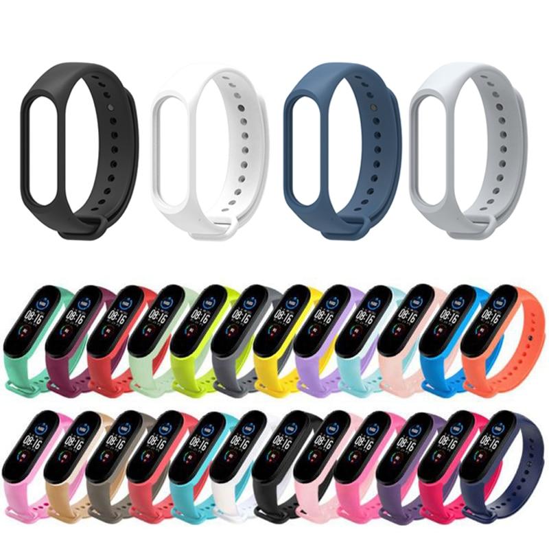 Strap For Xiaomi Mi Band 6 5 4 Silicone Wristband Bracelet Replacement For Xiaomi Band 5 MiBand 6 5 4 Wrist Color TPU Strap