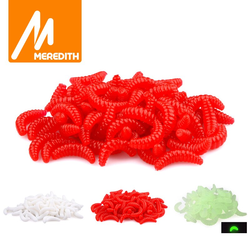 MEREDITH 50pcs 100pcs 150pcs 200pcs 2cm 0.38g maggot Grub Soft Fishing Lure Hooks Smell Worms Glow Shrimps Fish Lures