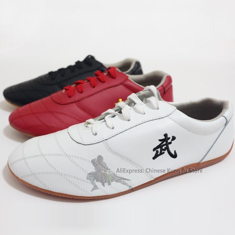 Unisex Weiche Leder Kung fu Tai chi Schuhe kampfkunst Wushu Sport Turnschuhe mit Stickerei
