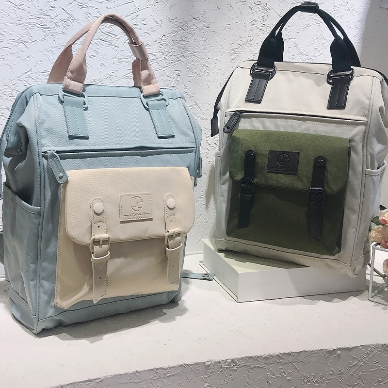 Women Backpacks Candy Color Waterproof School Bags for Teenagers Girls Patchwork Large Capacity Back