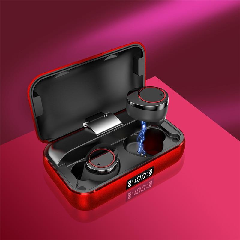 Auricular Bluetooth IPX7 resistente al agua V5.0 TWS, auriculares de 5000mAh de capacidad, auriculares inalámbricos, carga inalámbrica para xiaomi huawei