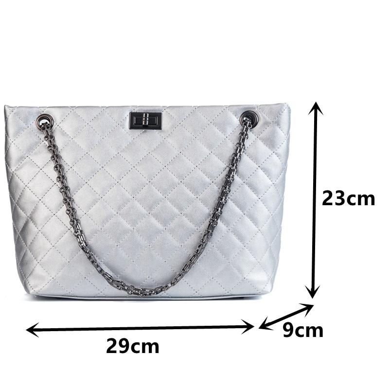 Rhombus Lattice Women's Crossbody Handbags Big Size Chain Shoulder Bag Quality Leather Tote Bag Quilted Plaid Ladies Shopper Bag