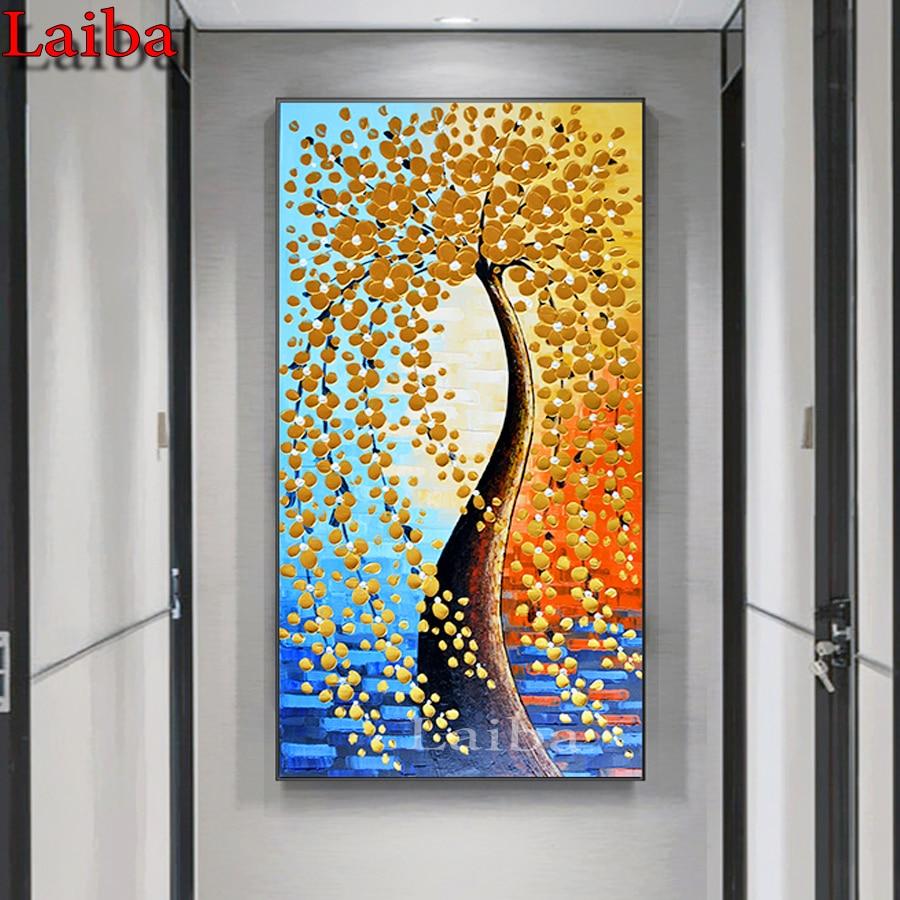 Pinturas de diamantes, perforación completa de diamantes, porche con patrón de árbol de dinero dorado, pasillo de árbol de la vida, pintura de decoración, mosaico bordado