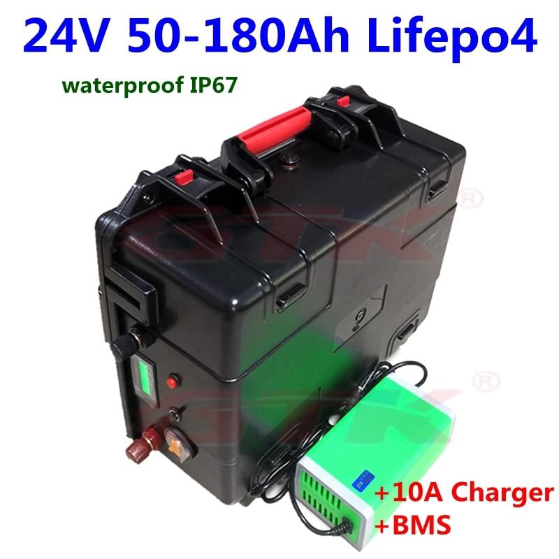 À prova d24 água 24v 50ah 60ah 100ah 130ah 150ah 180ah lifepo4 bateria bms 8s para o sistema solar do motor de trolling camper + 10a carregador