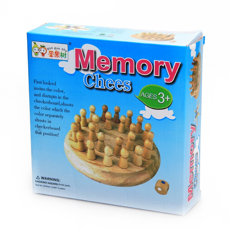 Children's wooden puzzle board game color memory chess piece memory development parent-child games enlarge