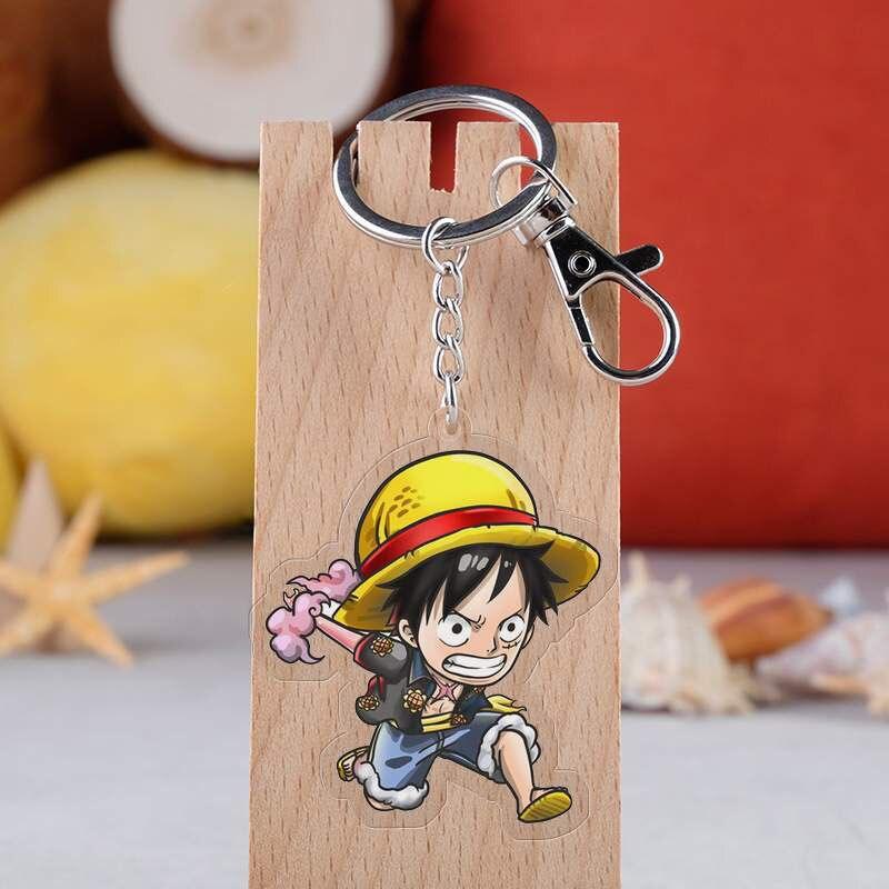 Anime una pieza llavero de dibujos animados figura de Luffy Ace Nami Sabo Boa colgante de acrílico llavero