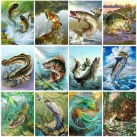 new 5d diy diamond painting colorful fish picture full drill embroidery mosaic cross stitch kit home decoration holiday gift