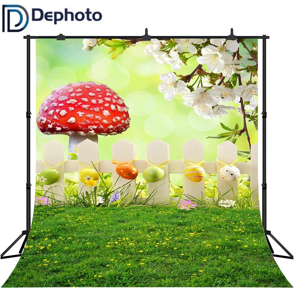 Dephoto fotografía Backdrops verde Bokeh seta valla pradera colorido huevo bebé niño Pascua Foto fondo fotófono
