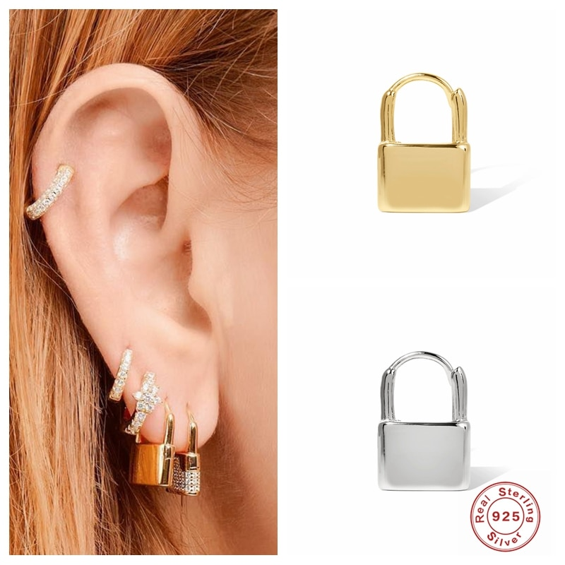 Aide Fashion 925 Sterling Silver Gold Lock Clip Earring Without Piercing Puck Rock Vintage Minimalist Jewelry for Women Earrings