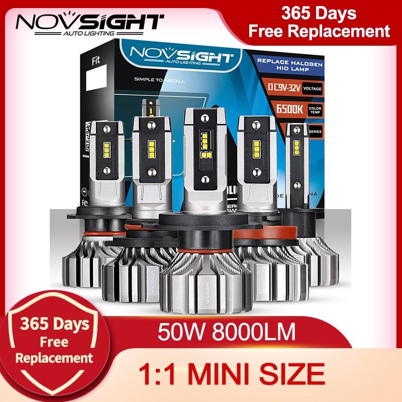 NOVSIGHT H4 LED سيارة العلوي لمبات H7 9005 HB3 9006 HB4 9012 H1 H3 H11 H8 H9 البسيطة سيارة السيارات المصابيح الأمامية 8000LM 6500K الضباب ضوء